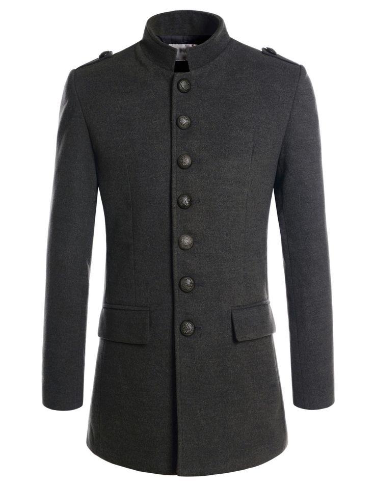(NKSC7033) TheLees Mens Wool Blend Mandarin Collar Single Napoleon Jacket Coat