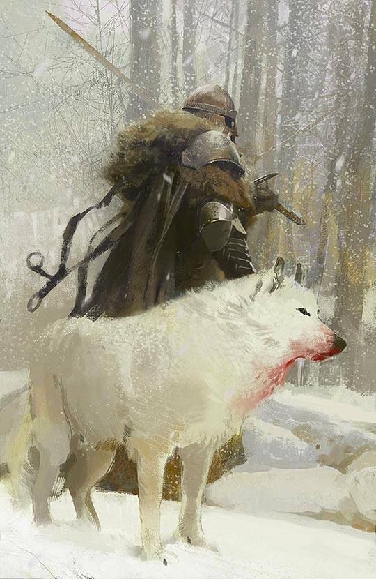 Game of Thrones Art - John Snow and Ghost his Direwolf
