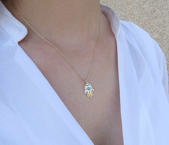 Gold hand necklace  Gold hamsa necklace Hamsa by HLcollection