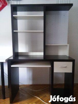 Eladó IKEA íróasztal: Használt Asztal részei: Egy fiók alul tároló rész 2 polc felül könyvtámaszok ( variálható) kihúzható klaviatúra tartó…