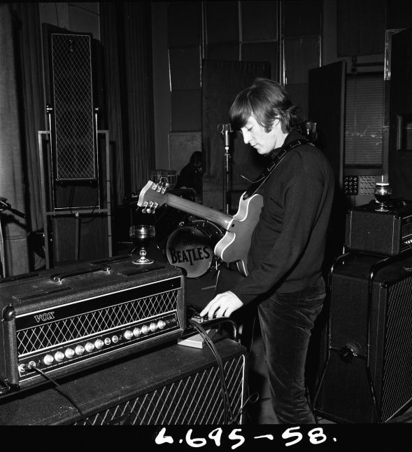 "John Lennon, EMI Studio 3, ""Paperback Writer"" session; captured by Leslie Bryce (1966)"
