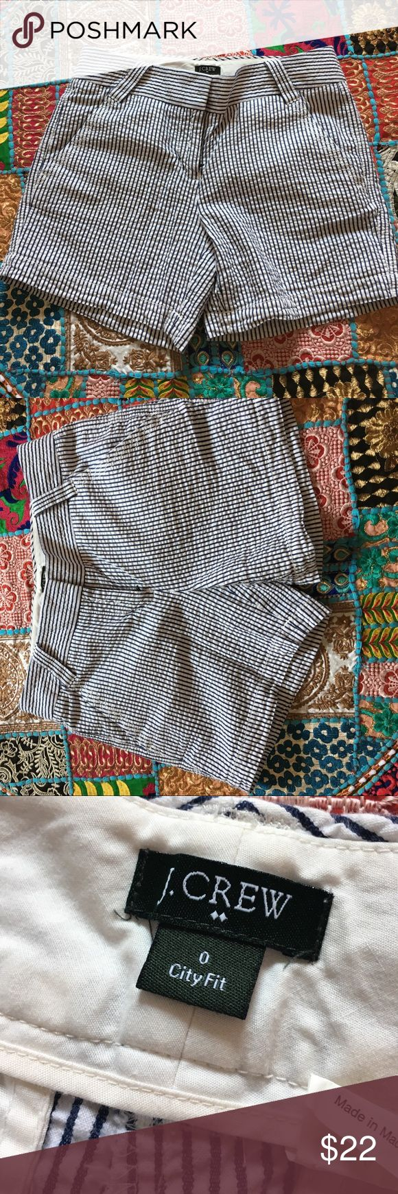 J. Crew Seersucker Shorts Blue and White Seersucker shirts from J.Crew. Excellent condition, no flaws. A summer must have for dressing up or down! 💙 J. Crew Shorts