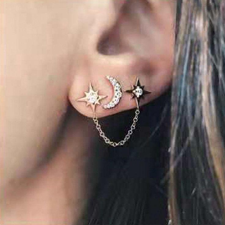 1 Paire Cristal Etoile Lune Boucle d/'Oreille Longue Dangle Bijoux Fantaisie Gift