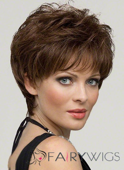 Dynamic Feeling From Capless Short Wavy Brown 100 Indian