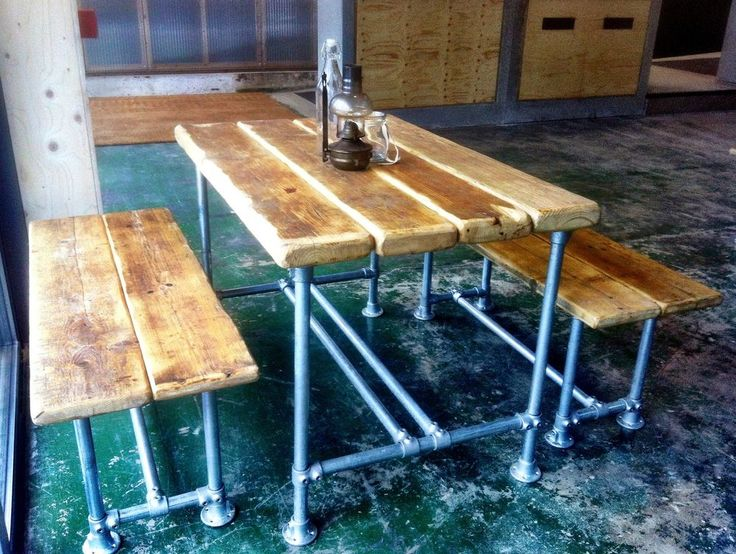 The legs and structure are made from light duty scaffolding pipe, which gives a solid foundation as well as that all-desirable Industrial Look. The table and bench tops are made from reclaimed pine wood, which has been fully treated, sanded and lightly covered in sealant to harden and protect it from stains and spills. | eBay!