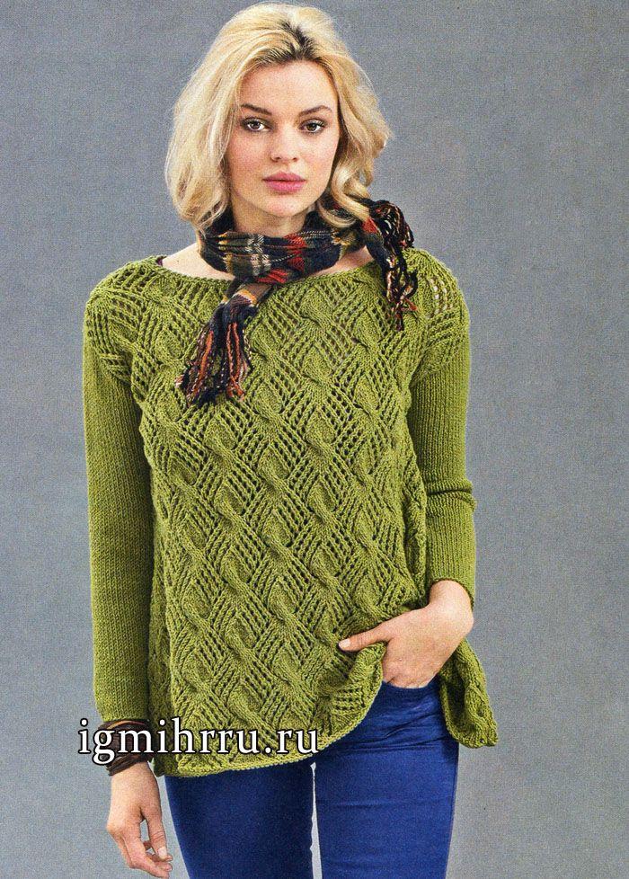 Пуловер цвета мха с А-силуэтом и выразительным ажурным узор с косами. Вязание спицами: