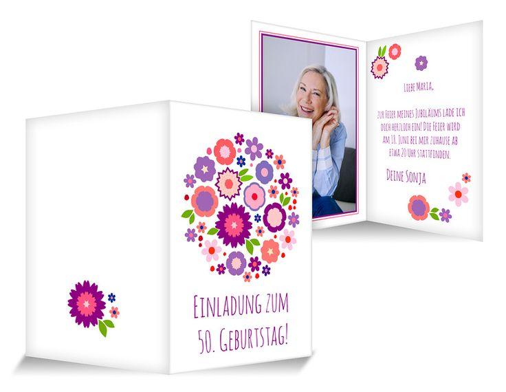 Bouquet Runder Geburtstag Einladung