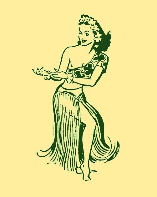 1950's Vintage Hula Girl Design in green ink on a by retroink