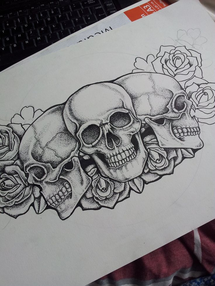 Tattoo Drawings Of Skulls And Roses Images & Pictures - Becuo