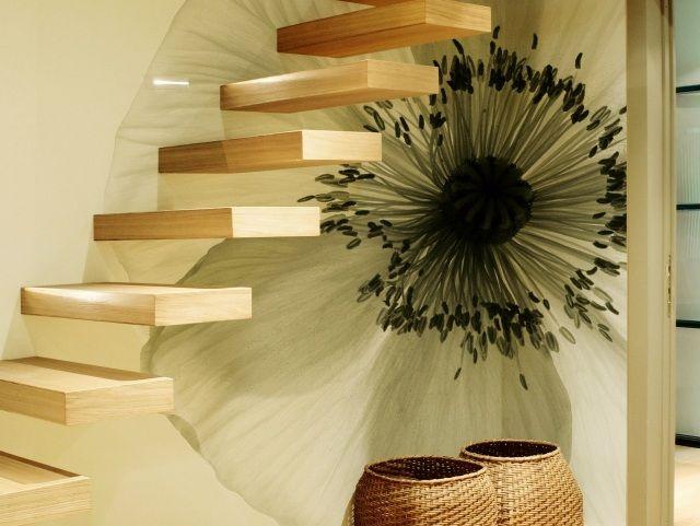 Déco murale coquelicot et escalier marches flottantes