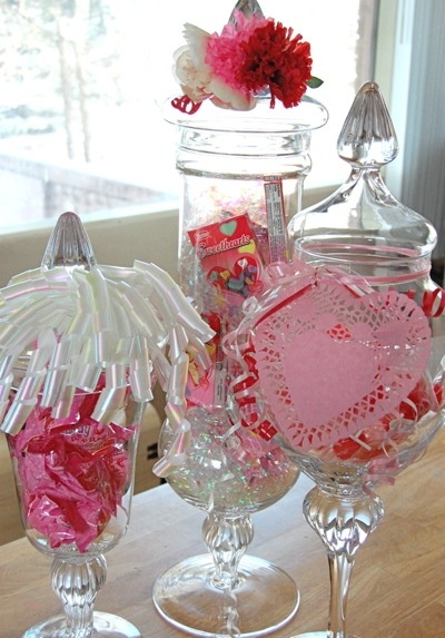 Apothecary Jars Valentine Decorations Valentines Party Decorated Jars