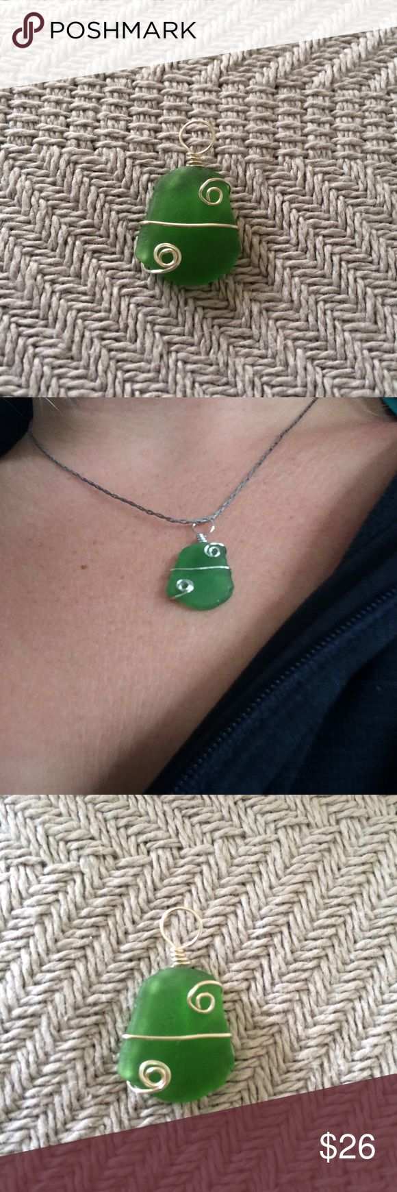 Hawaiian sea glass pendant. Handmade (by me) This sea glass comes from a beach in Hawaii, which is where I live. All of the sea glass and shells I use are actually are collected off the beach. I do not believe in diving to try to find the perfect shell. It is still a part of nature and is disrespectful to land and the people here. However sea glass and shells that wash up on the beach are meant to be admired and enjoy; it is natures way of showing us her beauty. I sell these items to help…
