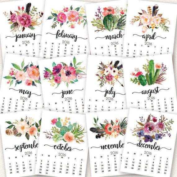 Aquarell Blumen Kalender Kalender 2016 2017 von LittleHollowPrints