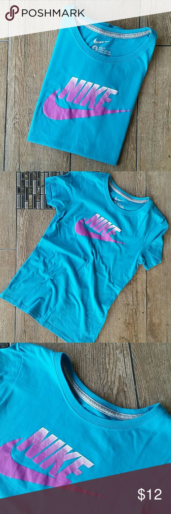 "NIKE SLIM FIT TEE Aqua blue short sleeve Magenta ""Nike"" with Swoosh Crew cut 16"" armpit to armpit 25"" shoulder to hem No rips, stains,pilling or peeling of logo Smoke free home Nike Tops Tees - Short Sleeve"