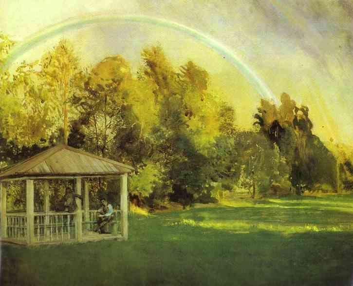 Paysage avec pavillon, pastel de Konstantin Somov (1869-1939, Russia)