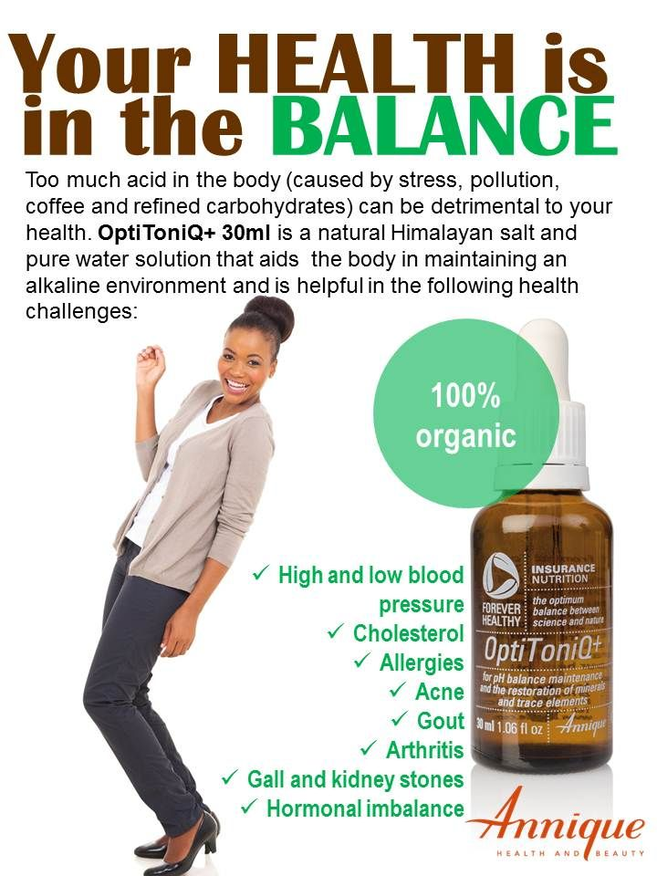 Balancing the body's pH is critical to your health. Too much acid leads to high blood pressure, cancer, heart disease, gout, and many other ailments and diseases. OptiToniQ+ is 100% natural and organic.