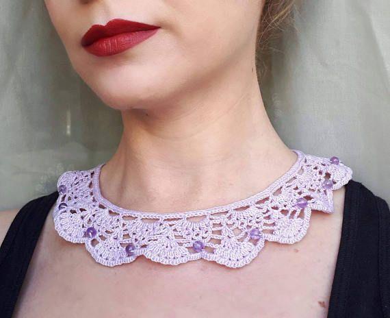 Amethyst semiprecious collar purple crochet collar purple