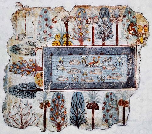 White lotus flowers in ancient egyptian mural fragment of for Ancient egyptian mural paintings
