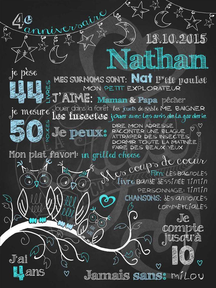 Affiche personnalisée anniversaire 2 à 5 ans Veille de hiboux (turquoise)   28,00$ #chalkboard #lacraieco