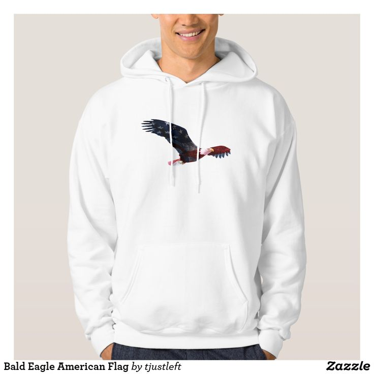 This patriotic hoodie has a Bald Eagle that is superimposed with the American Flag!