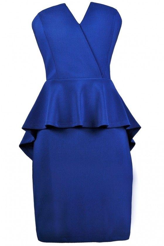 Bright Blue Cocktail Dress, Royal Blue Party Dress, Royal Blue Peplum Dress