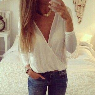 Blusa de gasa, Jeans azul