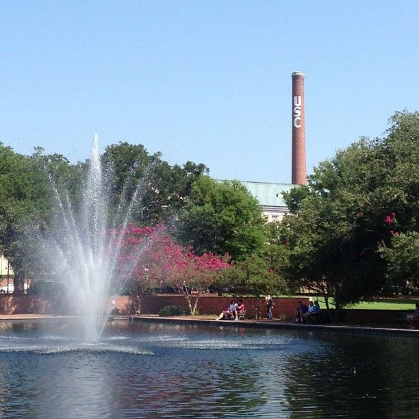 The fountain in front of Thomas Cooper Library serves as an icon to the University of South Carolina's campus.