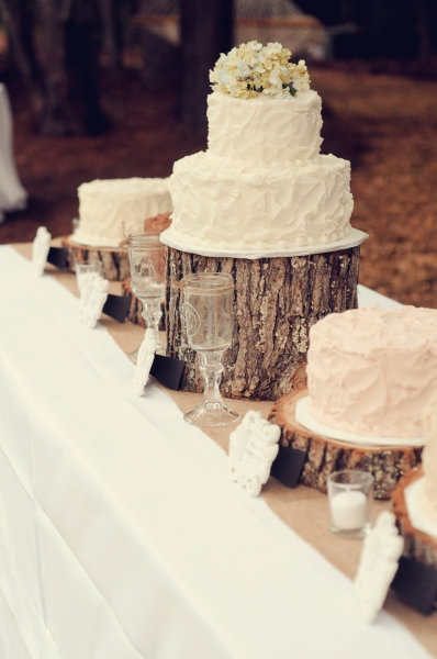 Very vintage cake table set up!    White linens to the ground, Burlap table runners, and Irish coffee mugs provided by North Georgia Party Rentals - Assembly assisted by All Pro Party Consultants