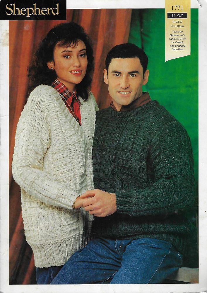 edec0385d Men s   Women s Textured Sweater Shepherd   1771 knitting pattern 14 ply  yarn ...