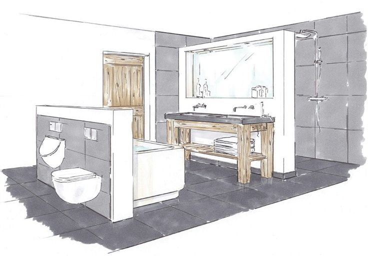 Idee voor indeling nieuwe badkamer badkamer pinterest for Tekening badkamer maken