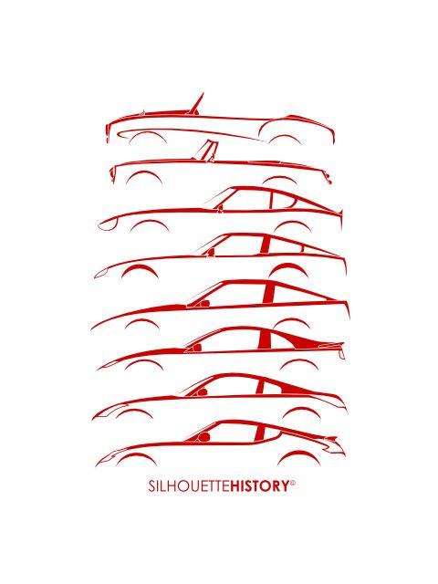 Fair LadieZ SilhouetteHistory Silhouettes of Datsun/Nissan (Fairlady) Z-cars: Fairlady SPL 212, SPL 310-311, 240Z (S30), 280ZX (S130), 300ZX (Z31), 200ZX (Z32), 350Z (Z33) and 370Z (Z34)