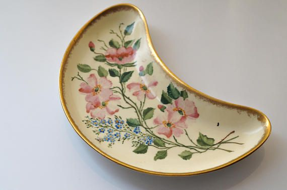 Ceramic Kidney Dish Delphine China Delphine Pottery Gold