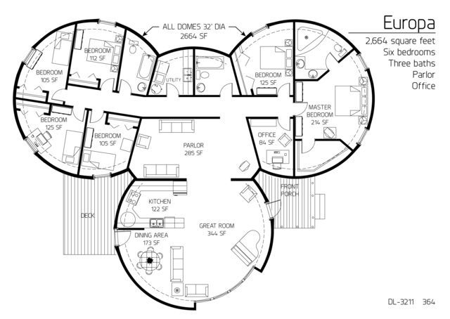 5 beroom dome home floor plans approx 2600 sq ft 6 for 2600 sq ft house plans