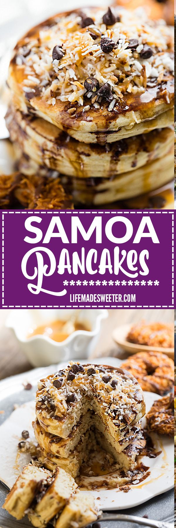 200 best pancake waffle recipes images on pinterest recipes these samoa pancakes are the perfect way to enjoy the popular girl scout cookie all year round best of all these soft and fluffy pancakes are so easy to ccuart Choice Image