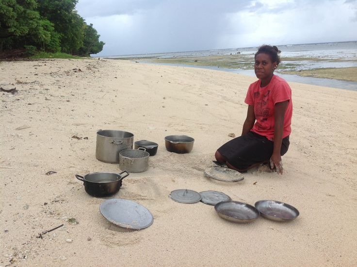 "The Lav Kokonas team visited Rah Island - in the Banks Islands area, this is ""doing the dishes, island style"" .   We had the best time there - the most amazing hospitality.   Check out the facebook page we set up for the small family run bungalows,   https://www.facebook.com/RahIslandVanuatuParadiseBungalows?ref=hl"