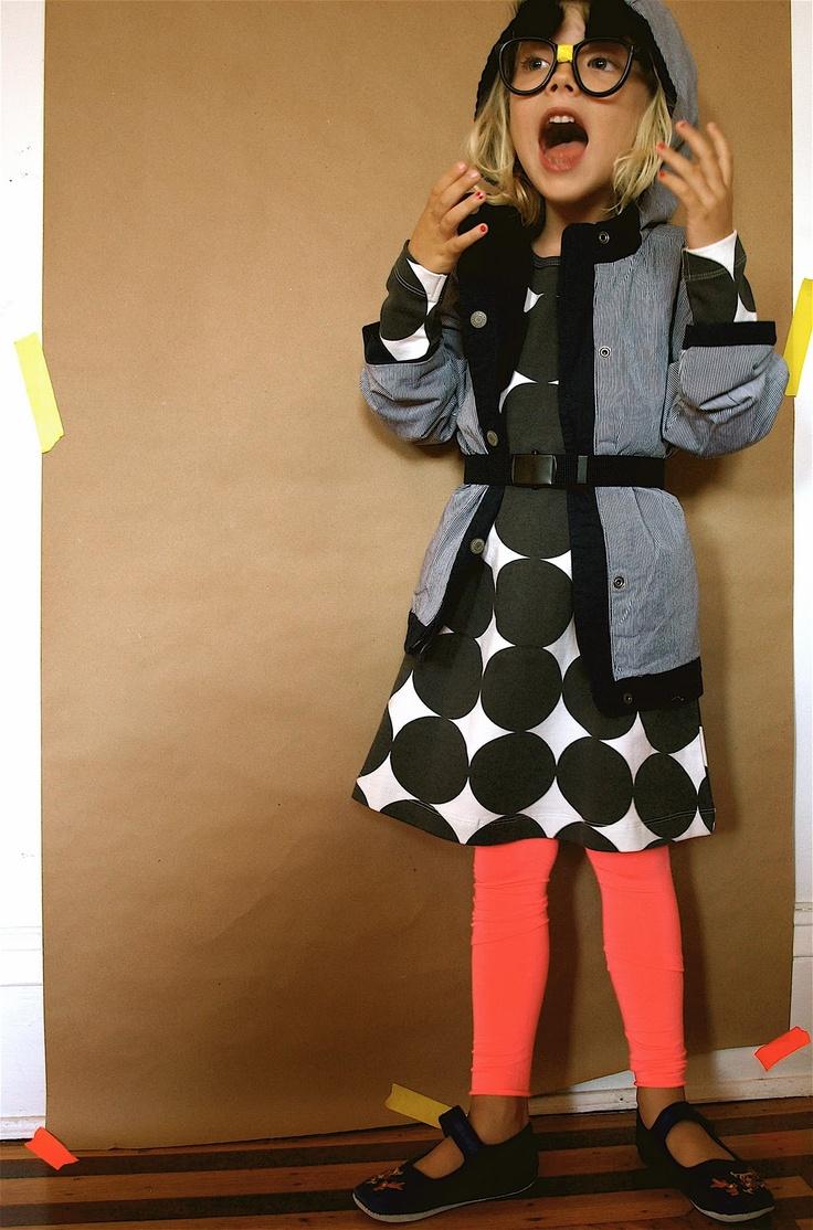 love the polka dots and bright tights.