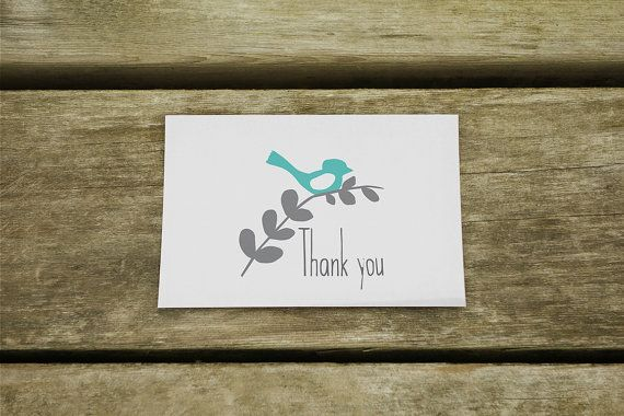 Little Bird Thank You Cards  suitable for any by ErivaDesign