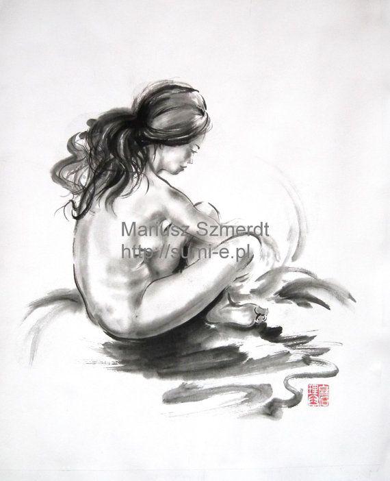 Japanese woman girl Japanese erotic act sumi-e suibokuga ink painting on rice paper