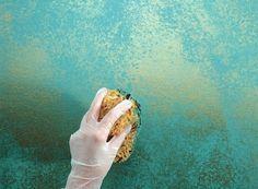 dekorative maltechniken schwammtechnik blau metall farbe                                                                                                                                                                                 Mehr