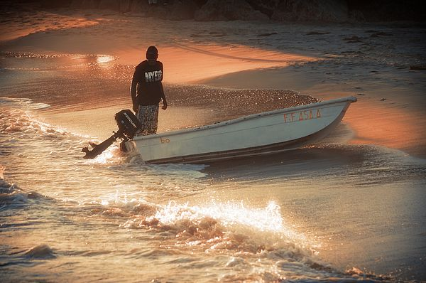 "Fisherman on Golden Sunset Sandy Coast. From ""Caribbean"" Photo Art Prints."