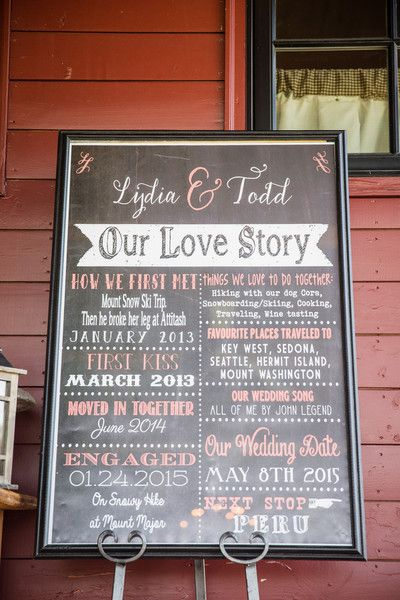 """Our Love Story"" wedding day chalkboard sign idea {Lovely Valentine Photo + Film}"