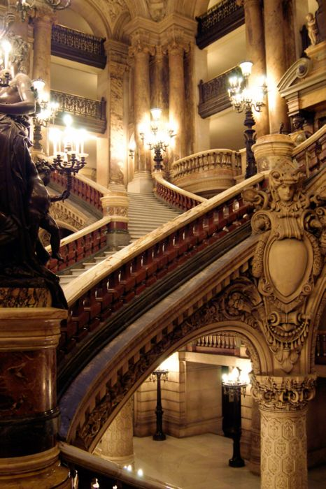 Neoclassical details and sweeping grand staircases inside L'opéra Garnier (the Paris Opera House), Paris, France... For those who don't know, also the setting of the classic Phantom of the Opera tragedy.