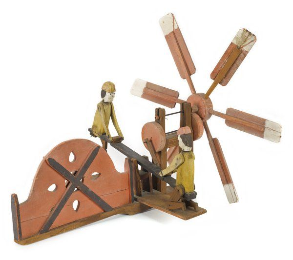 Painted whirligig of two men on a see-saw, 20th c., 20'' l.