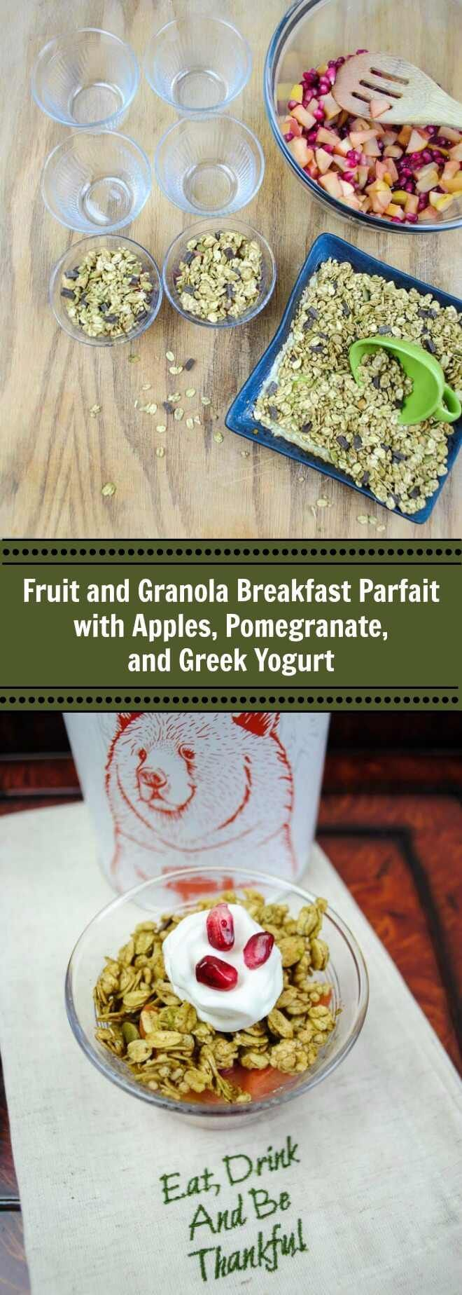 Pomegranate seeds and apples give this breakfast parfait topped with crunchy granola a festive presentation perfect for a holiday brunch. (Sponsored by Bear Naked Granola)