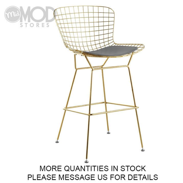 Wire Barstool with Seat Pad Wireback Barstool Modern Mid Century Mesh Stool Gold #MS #Modern