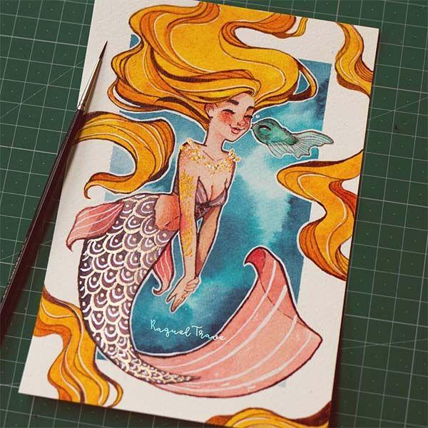 """Com o sereismo em alta, fica difícil não gostar ainda mais da melhor princesa Disney: a Ariel! E nessa onda de muito amor por essas criaturas místicas, descobri a série de ilustras da espanhola Raquel Trave. Ela fez um desafio mês passado chamado de """"Mermay"""", uma brincadeira para desenhar sereias no mês de maio, onde criou outras princesas no fundo do mar também. São ilustrações lindas, eu adoro como tudo é delicado e os rostos bem..."""