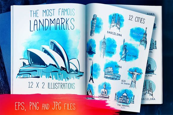 12 Famous Landmarks in Vector by Varvara Gorbash on Creative Market