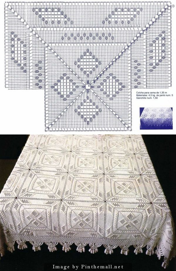 Crochet Popcorn Stars & Diamonds Bedspread Square ~~