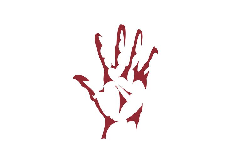 Implied Lines In Art : Using implied lines method to make a red hand print logo