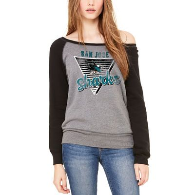 San Jose Sharks Let Loose by RNL Women's Eighty Something Wide Neck Sweatshirt - Heathered Gray/Black